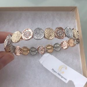 Rose gold plated multi-toned bracelet